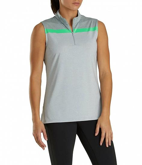 FootJoy Women's Lisle Zip Sleeveless Golf Shirts - FJ Tour Logo Available