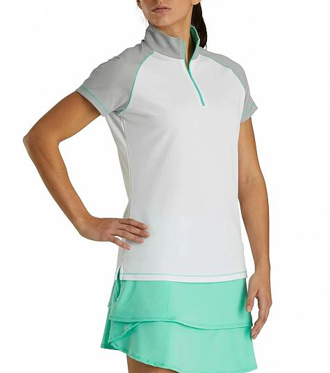 FootJoy Women's Smooth Pique Raglan Color Block Zip Golf Shirts - FJ Tour Logo Available - Previous Season Style