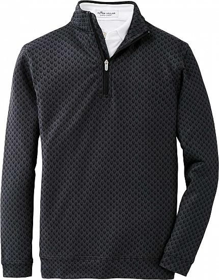Peter Millar Perth Stretch Loop Terry Printed Skull Quarter-Zip Junior Golf Pullovers