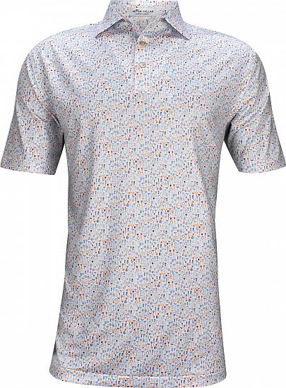 Peter Millar Carroll Printed Deco Cocktails Stretch Jersey Golf Shirts