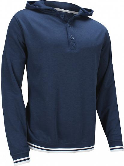 FootJoy Button Placket Jersey Fleece Blocked Hooded Golf Pullovers - Previous Season Style