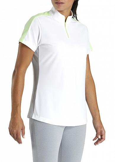 FootJoy Women's Color Block Pique Zip Golf Shirts - FJ Tour Logo Available