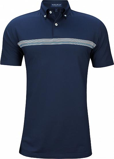 Peter Millar Crown Crafted Gray Performance Golf Shirts - Tour Fit - Chesson Hadley U.S. Open Friday